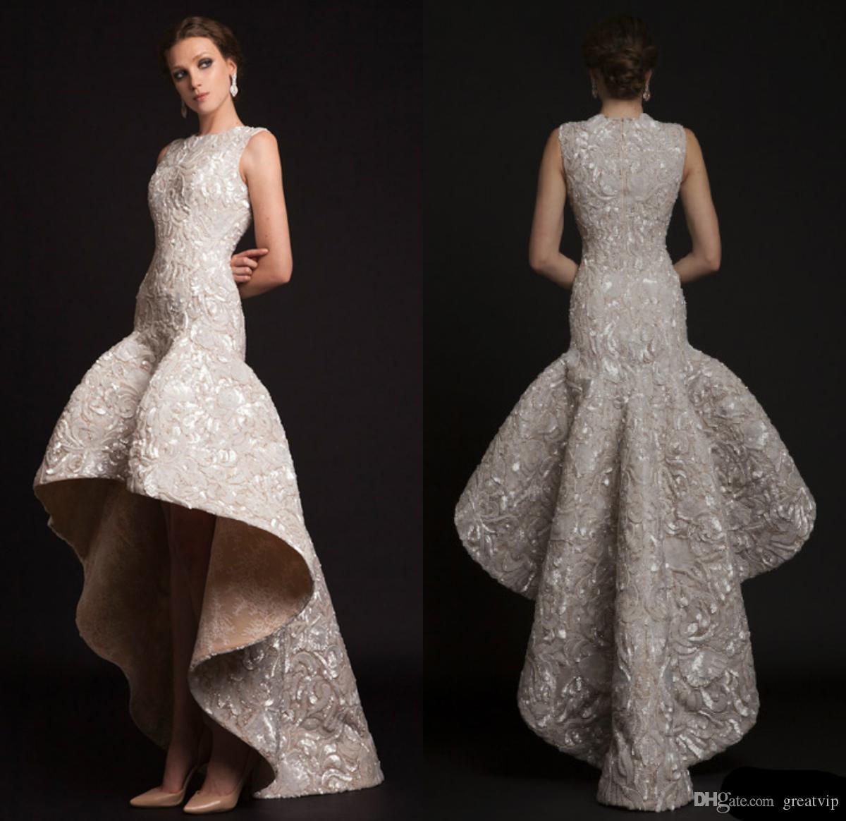 2019 Krikor Jabotian 럭셔리 이브닝 드레스 보석 높은 낮은 인어 공주 민소매 공식 파티 드레스 Abendkleider 파티 드레스