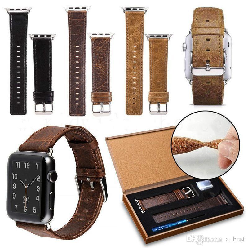Crazy Horse-Muster-echtes Leder-Uhrenarmband für Apple-Uhr 42mm 38mm Smartwatch-Bügel für iwatch Series 5 4 3 2 1 Gurt-Armband