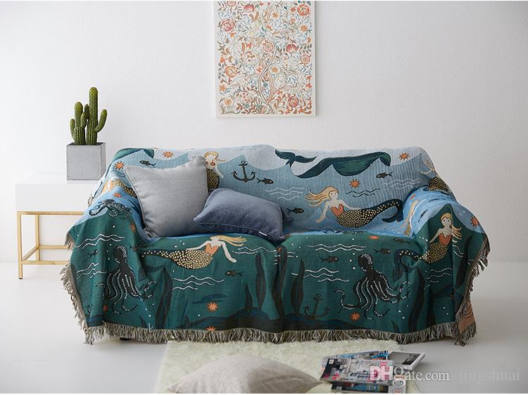 Amazing Mermaid Sofa Throw Blanket Knitted Chair Sofa Cover Towel Cartoon Couch Carpet Soft Cotton Travel Plaids Cover Bedding Tapestry Free Ship Wedding Pdpeps Interior Chair Design Pdpepsorg