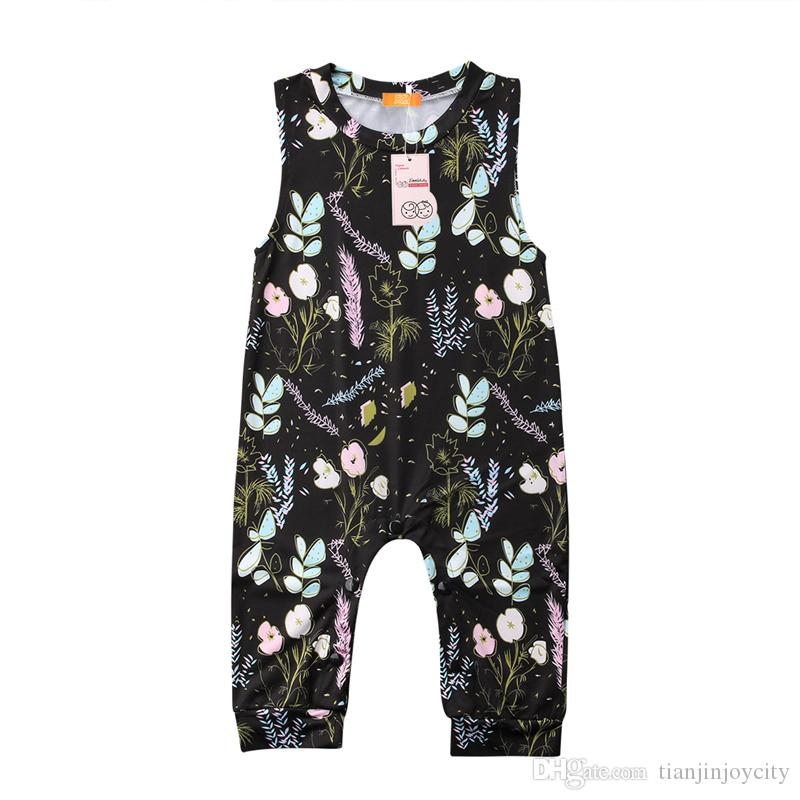 Romper Summer 신생아 Baby Girls Boys 유아 Kids 꽃 민소매 Black Vest Romper Jumpsuit Sunsuit 의류 복장