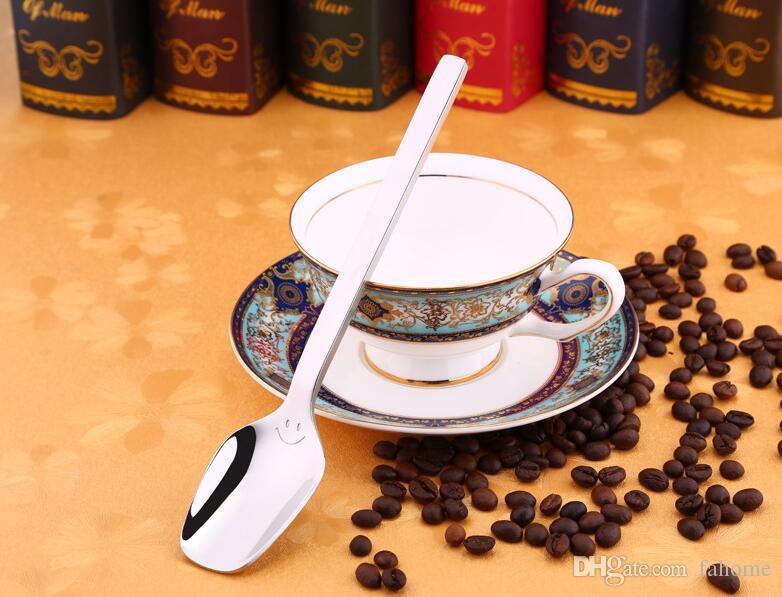 304 Cucharas de acero inoxidable para cena - 2 Tamaño Mango largo Café de alta calidad Postre Helado Cuchara de té Niños Niños Cuchara