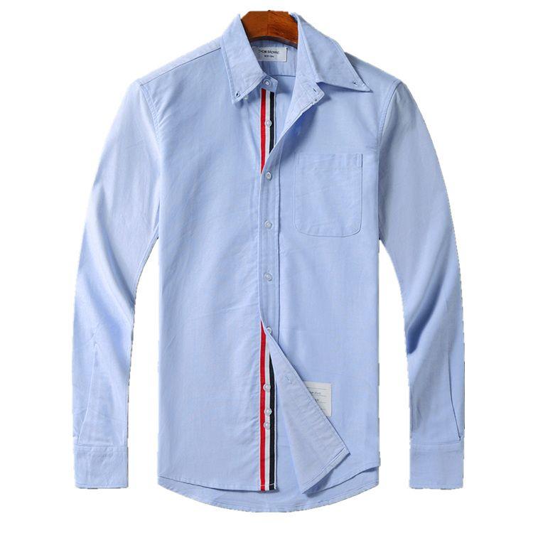 Herren Designer Thom T-Shirts Browne TB klassische Doppelhülse Tri Color Ribbon Mode langärmeliges Hemd THOM für Mann lässig T-Shirt