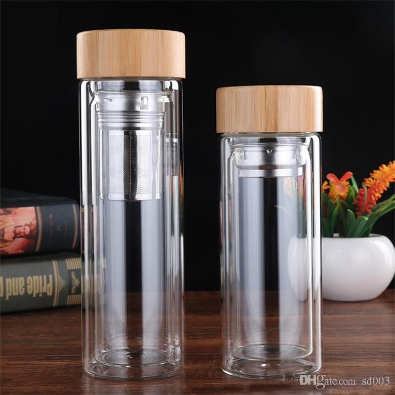 Bottiglie di acqua di copertura di bambù con tè infusore filtro vuoto tazze strato anti scottatura bottiglia di vetro per outdoorl carry due dimensioni 20 5bd zz