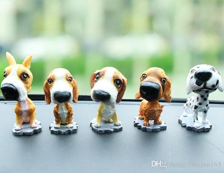 Cabeza de sacudida grande Perro artificial PET PET Coche Decoraciones Interior Decoración de resina para Auto Home Office Accesorio