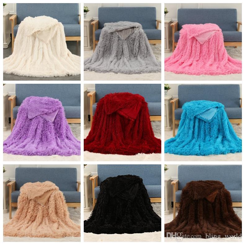 Fluffy Blankets Long Shaggy Blanket Fleece Throw Blanket Solid Wedding Bedspreads Adults Soft Bedding Supplies 160*200CM 2pcs YW1689