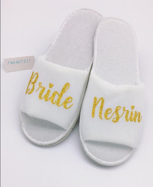 개인화 된 결혼식 슬리퍼, 결혼 신부의 신랑 이름 슬리퍼, 신부 파티 Slippers.Bachelorette 파티 호의
