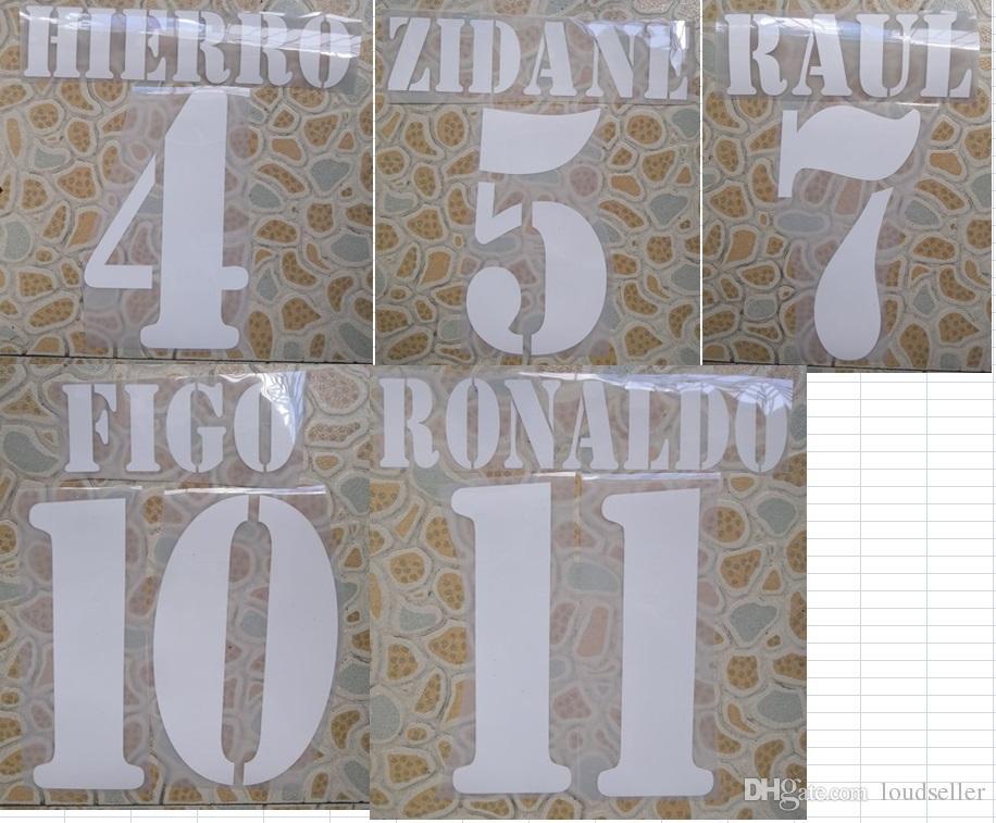 2000-2003 uzakta Retro ZIDANE FIGO RONALDO RAUL HIERRO adı numaralandırma nameset futbol yama futbol rozeti