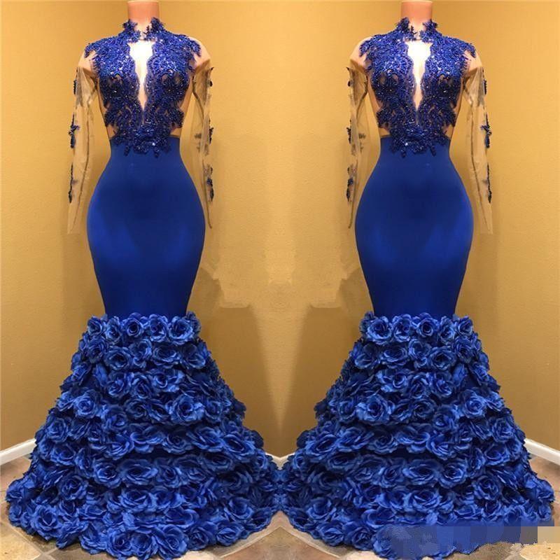 로얄 블루 블랙 걸스 인어 이브닝 드레스 긴 소매 레이스 아플리케 열쇠 구멍 목 드레스 3 차원 장미 꽃 미인 대회 가운