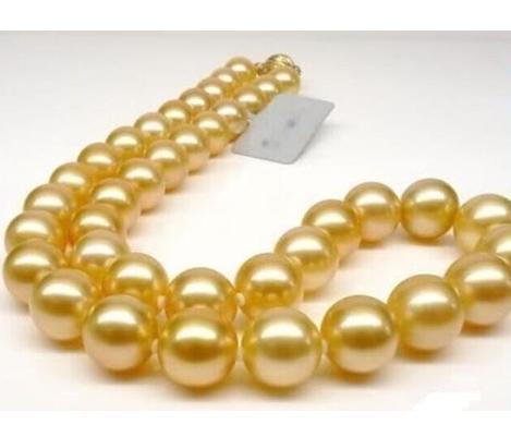 Agradável 10-11mm naturais mares do sul colar de pérolas de ouro de 18 polegadas 14k fecho de ouro