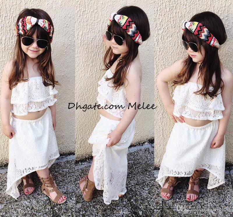 Instrine Mode Summer New Lace Girls Tops Tops Enfants Dentelle Robe 2PC Set 1-6Years Filles Princesse Robes Libre