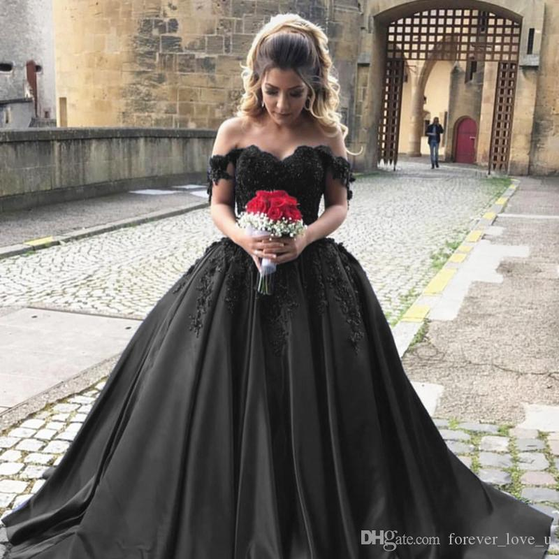 2019 Gothic Black Brautkleider Schatz Sheer Raster von der Schulter 3D Blumen Spitze Applikationen Satin Brautkleider