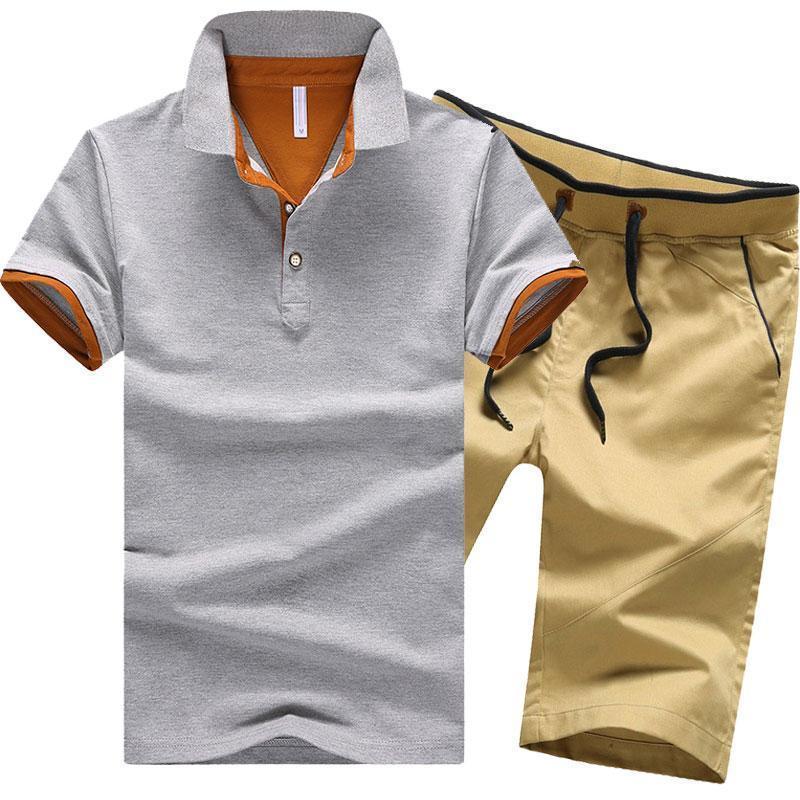 Männer Casual Trainingsanzug Größe M-4XL Männer Set 2018 Frühling Sommer Baumwolle Männlich Zweiteiler Kurzarm Polo Shirt + Shorts 2 Stück Solide