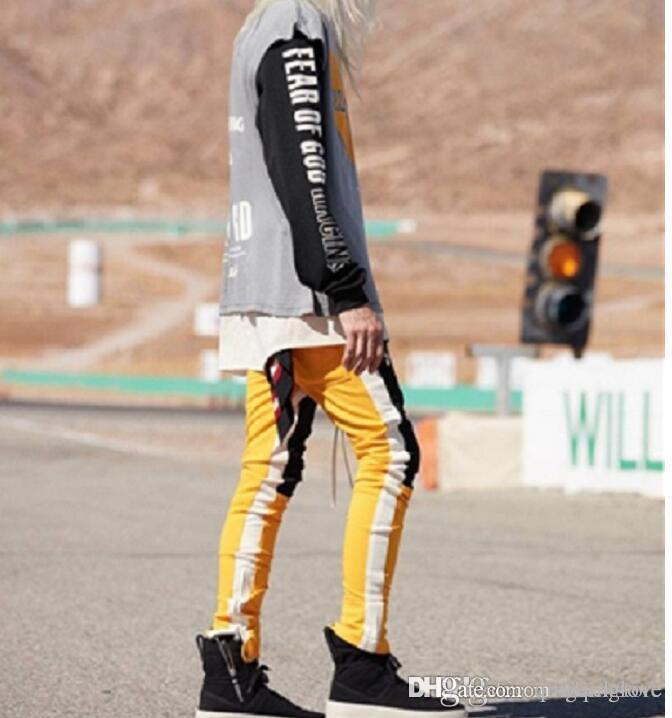 EUA Tamanho NOVO Zipper Calças High Street Moda Painéis Calças Compridas Hip hop Justin Bibber Calças de trilha SPORT Calças Amarelo Vermelho Amarelo