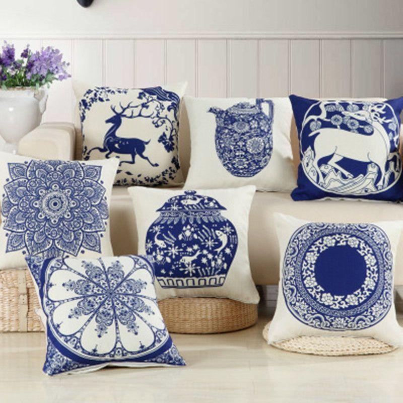 BZ251 clásica china almohada porcelana azul y blanca del amortiguador amortiguador de la cubierta de almohada del sofá / del coche / suministros almohada Textiles para el Hogar