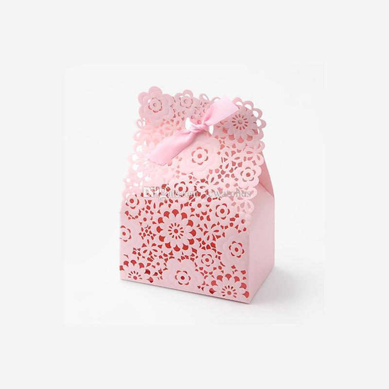 Confezione regalo fatta a mano con scatole di caramelle vuote rosa con confezione per bomboniere Bowknot