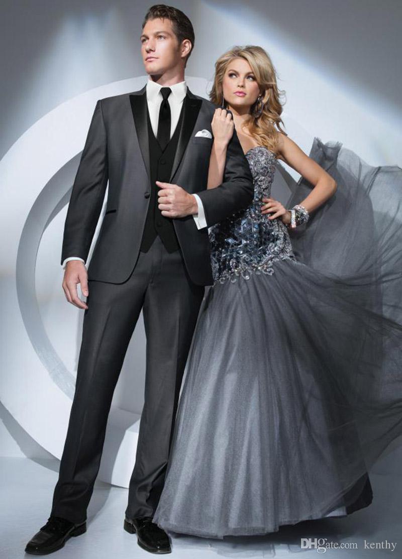 Tailored Men Suits Dark Grey Wedding Suits Custom Made Costume Homme 3Pieces Slim Fit Formal Blazer Prom Tuxedos Best Man trajes de hombre