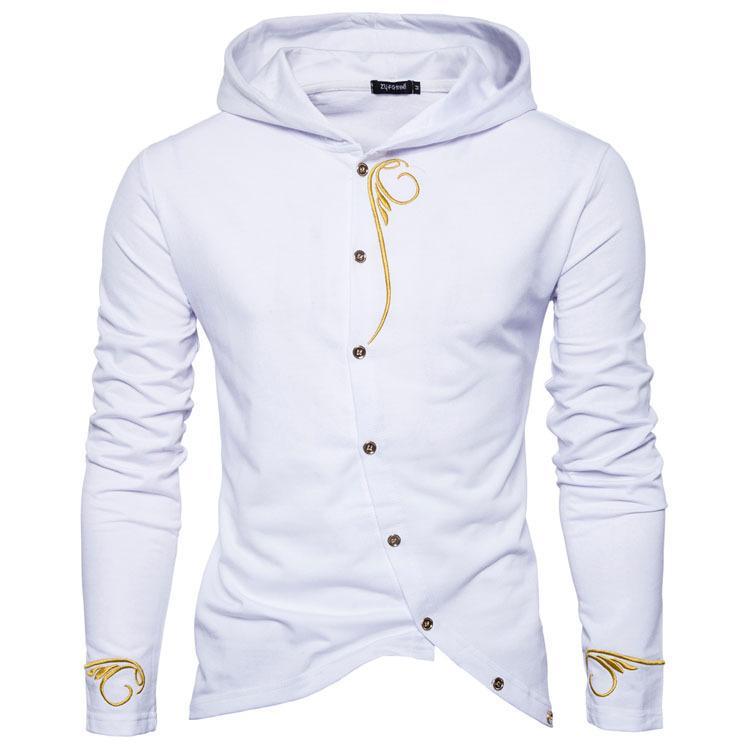 Herren Pullover bestickt schrägen Tür Druckknopf Langarm-Kapuzenpullover Sportbekleidung Sweat Jacke Casual Sportswear 2XL