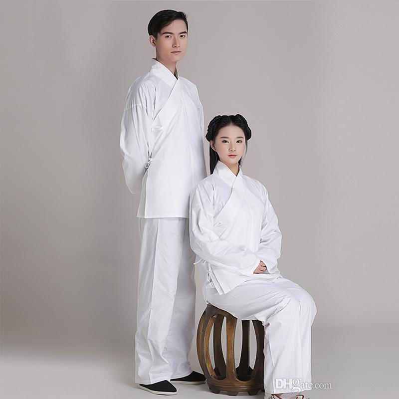 Back to han tang dynasties chinese Ancient daily life pajamas clothing Jacket + Pants original brand cotton Unisex hanfu meditation suits