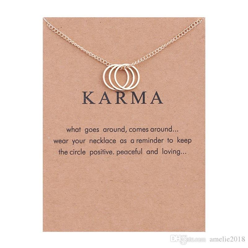 Círculo colgante, collar con tarjeta Tres círculos redondos, collares, collar de moda, joyería, mujer, vacaciones, regalos