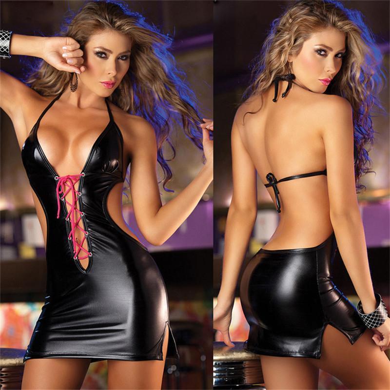 Sexy Babydoll Night Club Dress Lace up femmes en cuir PU v-cou bandage dos nu strappy halter robes femmes vêtements