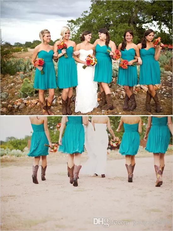 Cheap Country knee length Bridesmaid Dresses 2019 beach For Weddings Sweetheart Chiffon Teal Turquoise Summer Party Short Maid Honor Gowns