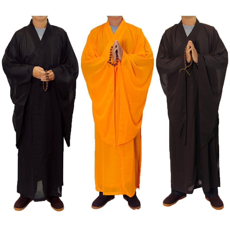 3 colors Zen Buddhist Robe Lay Monk Meditation Gown Monk Training Uniform Suit Lay Buddhist clothes set