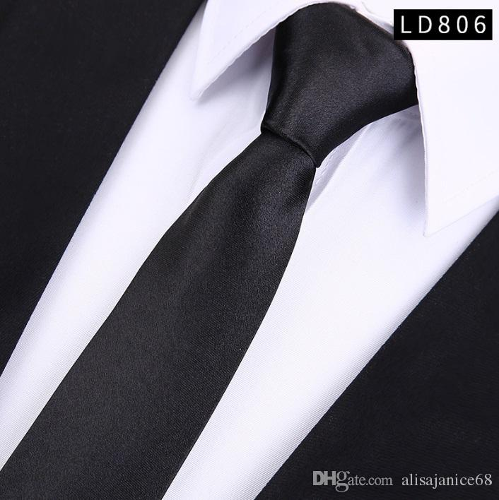 New Handmade Ties Slim Solid Colour Plain Smart Thin Satin Party Wedding Necktie