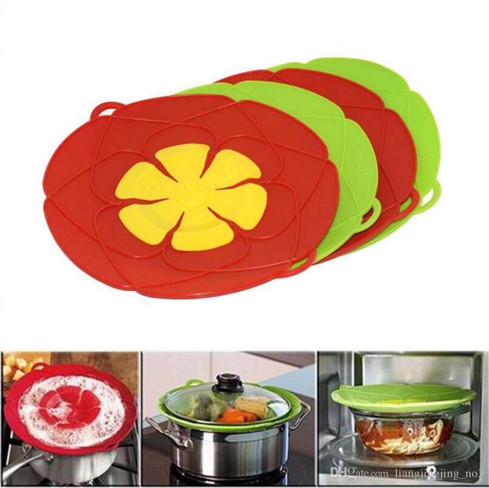 Blume Kochgeschirr Teile 28 cm Silikon Überlaufdeckel Stopper Ofen Sicher Für Topf / Pfanne Abdeckung Kochutensilien OOA4074