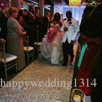 ShinyBeauty Silver Aisles Runner Sequin 4FTX35FT,Wedding Carpet Aisles Runner Sparkly Sequin Fabric Footcloth (48X300-Inch Long)