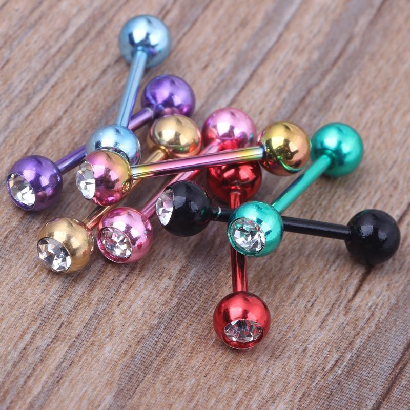 Singolo Gemtongue Bilanciere anello 50pcs / Lot Body Piercing gioielli in acciaio inossidabile con i capezzoli orecchino penetrante Bar