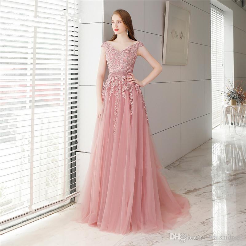 593d8232728e ... 2018 elegante rosa tulle lunghi abiti da ballo scollo a V off spalla  abiti da sera ...