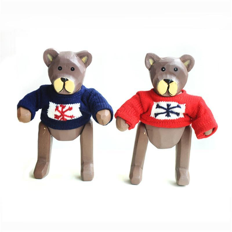 Bewegliche Bär Home Decor Fifgurines zwei Sätze Cute Bear Desktop Dekoration Handwerk Kid Holzspielzeug