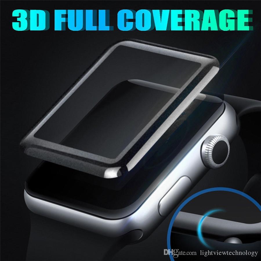 لأبل ووتش iWatch 2 3 4 3D منحني حافة كاملة غطاء الشاشة 38MM 42MM 40MM 44mm والزجاج المقسى حامي مع صندوق البيع بالتجزئة
