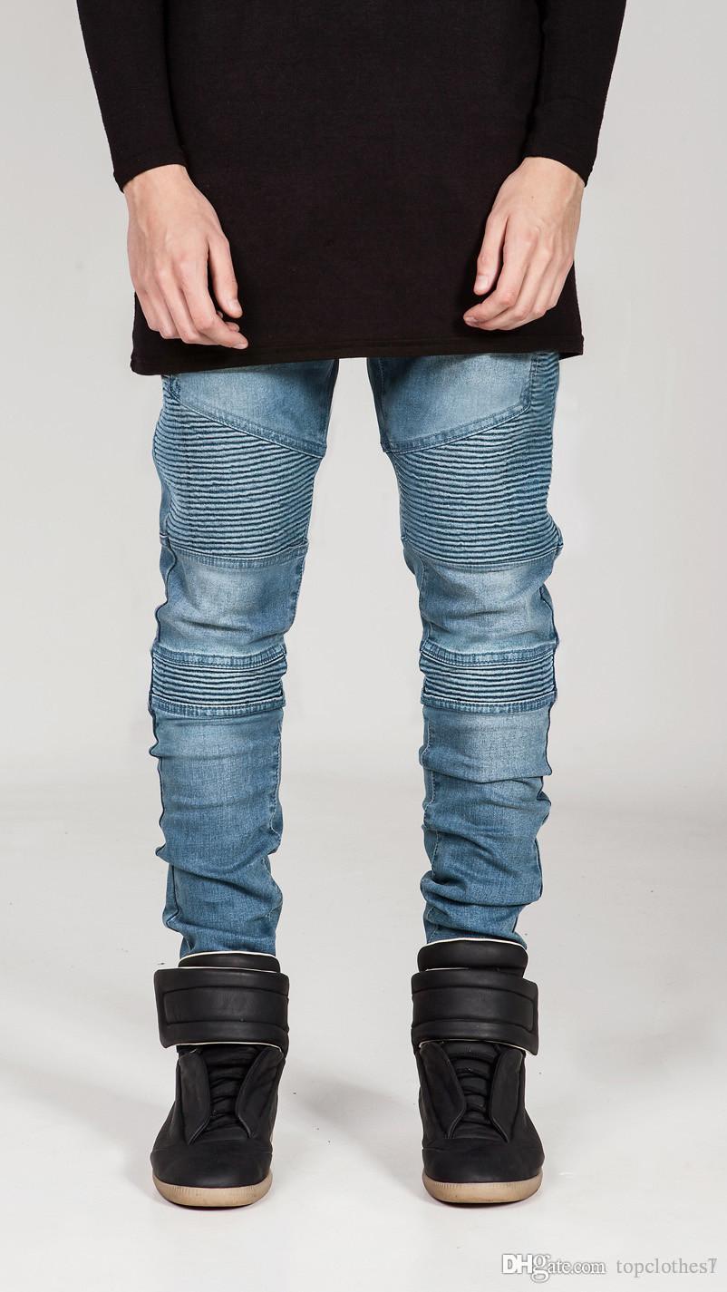 весна и осень мужские джинсы Slim Fit мотоцикл байкер джинсовые для мужчин бренд дизайнер хип-хоп мужские джинсы мужские личности морщины