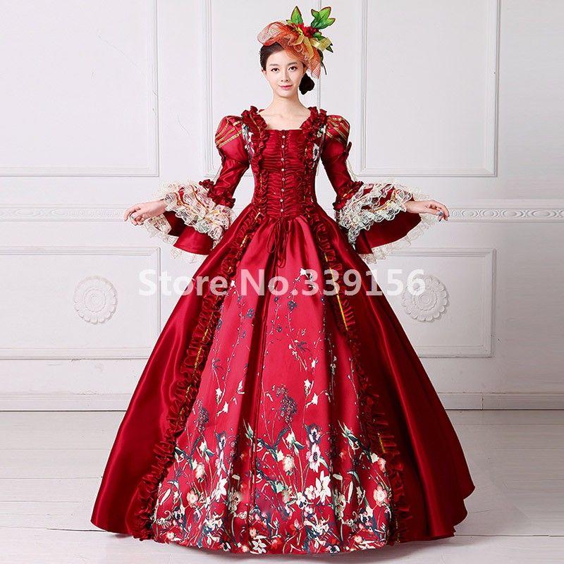 Compre Traje De época Victoriana De Borgoña Vestido De Fiesta Largo De Bola Vestido Largo De Marie Antoinette Pertty Guerra Civil A 20332 Del