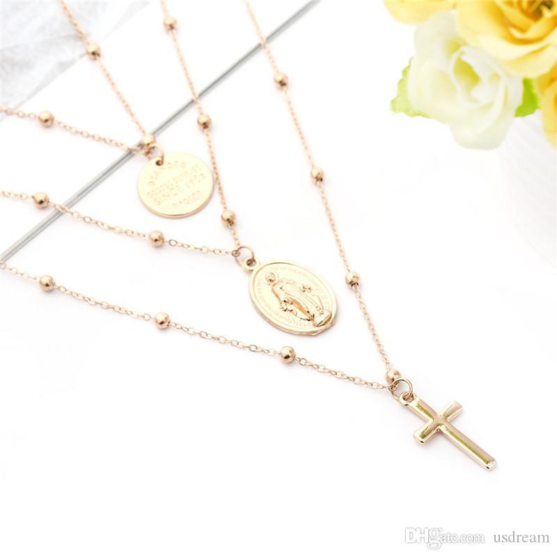 Мадонна крест ожерелье Серебро Золотые цепочки Многослойные ожерелья чокеровщика Jesus крест Подвески женщины ожерелье будет и песчаная подарок