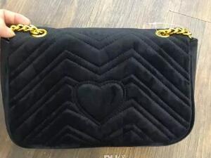 Mode schwarze Kette Make-up Tasche berühmte Logo Luxus Parteibeutel Flanell Schultertasche gute Qualität Samt Handtasche hohe Qualität
