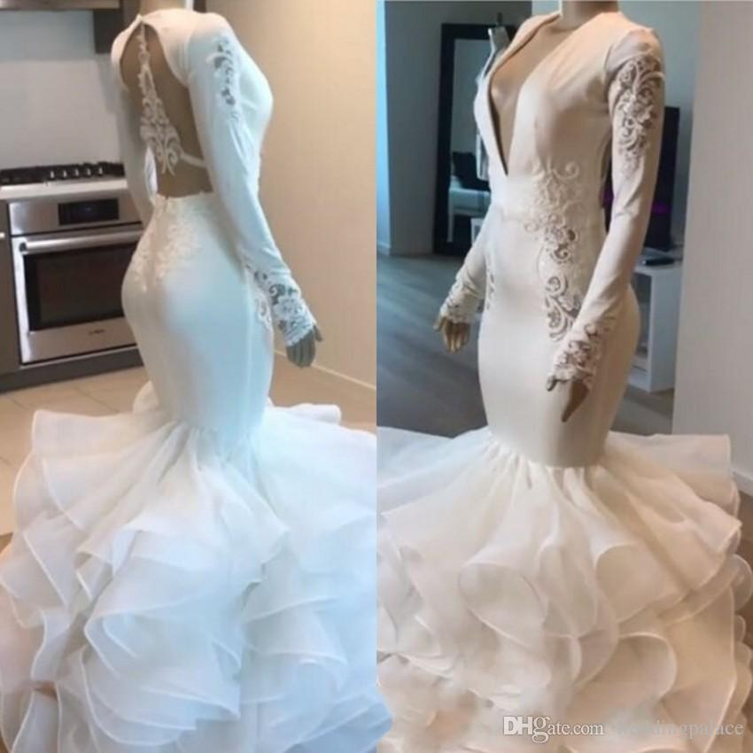 Fashion Design V-neck Mermaid Wedding Dresses Backless Long Sleeve Organza Ruffles Garden Beach Bridal Wedding Gowns Robe De Mariee