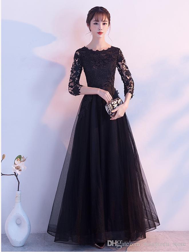 Compre 34 Mangas Una Línea Vestidos De Noche Negros Prom Vestidos Blusa De Encaje Hasta El Suelo Fiesta Larga Vestidos Formales Vestidos De Soirée A
