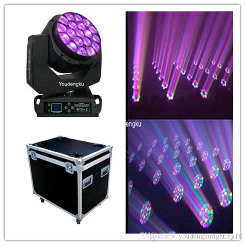 2 parça Büyük 19 * 15 W Arı Gözler LED Hareketli Kafa Yakınlaştırma Işık kil paky B GÖZ flightcase ile hareketli kafa zoom ışın ışık