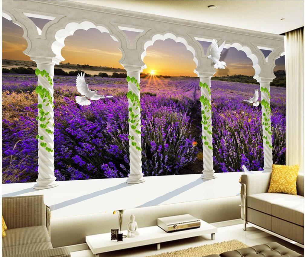 Acheter Photo Personnalisee Papier Peint 3d Stereo Fantasy 3 D Provence Violet Lavande Papier Peint Peinture Murale Pour Salon Tv Parametre Mur De