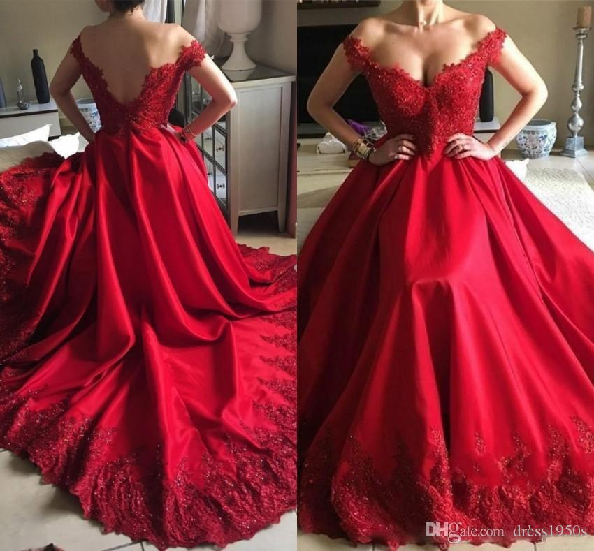 Vestidos de fiesta Red A Line Evening Dresses Formal Elegant Off Shoulder V-cut Backless Appliques Sequins Satin Long Prom Gowns