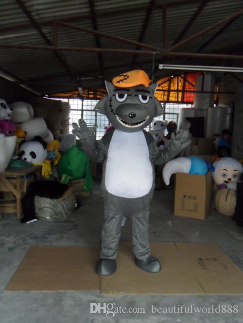 2018 wolffy traje de la mascota linda fábrica de ropa de dibujos animados personalizada personalizada apoyos caminando muñecas ropa de la muñeca