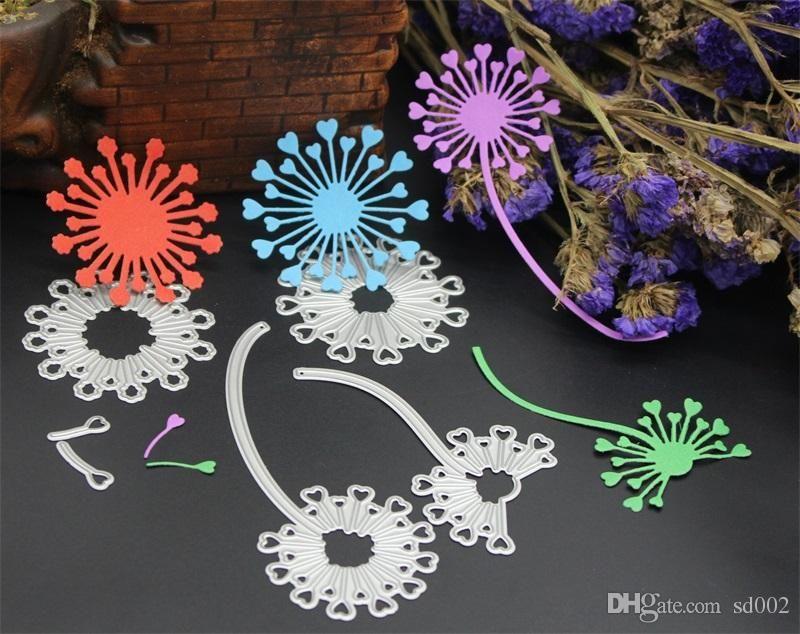 Scrapbook DIY Molde Dandelion Forma Template Aço Carbono Em Relevo Cortador Die Photo Album Portátil Pequena Luz 13hb cc