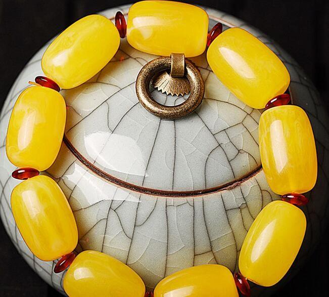 النفط الشمع الطبيعي القديم الدجاج الأصفر برميل الخرز سوار العنبر الدم الحجر الأصلي لكل حبات مربعة الرجال والنساء سوار أساور jewelr