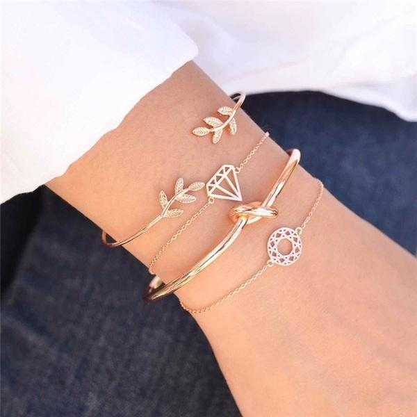4pcs/set Women Simple Design Rose Gold Plated Chain Bracelet Leaf Diamond Hollow Charm Bracelet Fashion Jewelry Accessories