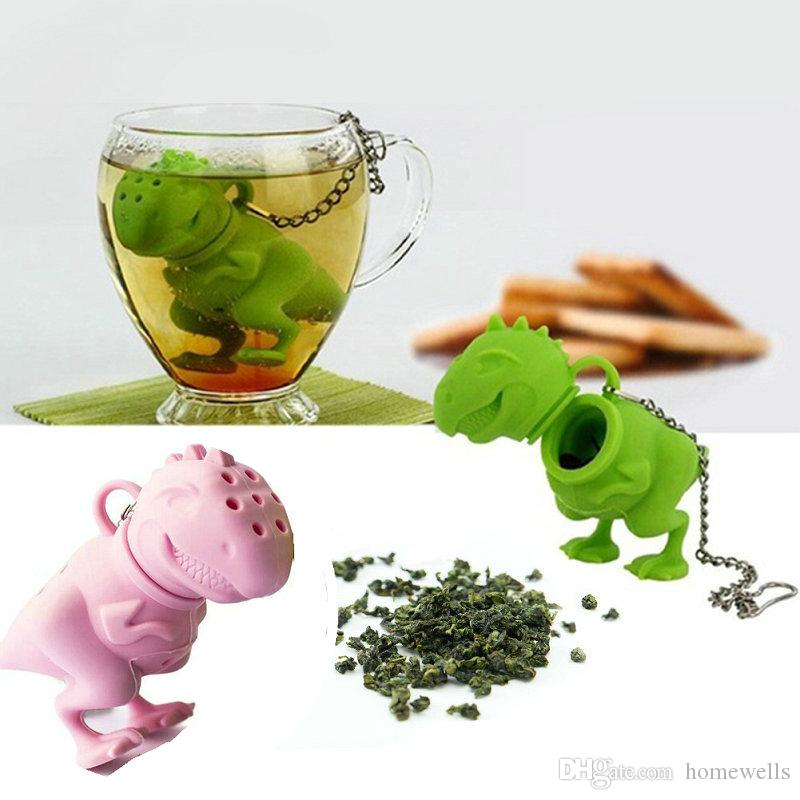 5PCS Dinosaur Shape Tea Strainer Mesh Teas Infuser Slicone Reusable Portable Tea Strainer Coffee Filter Empty Tea Bags Leaf Diffuser