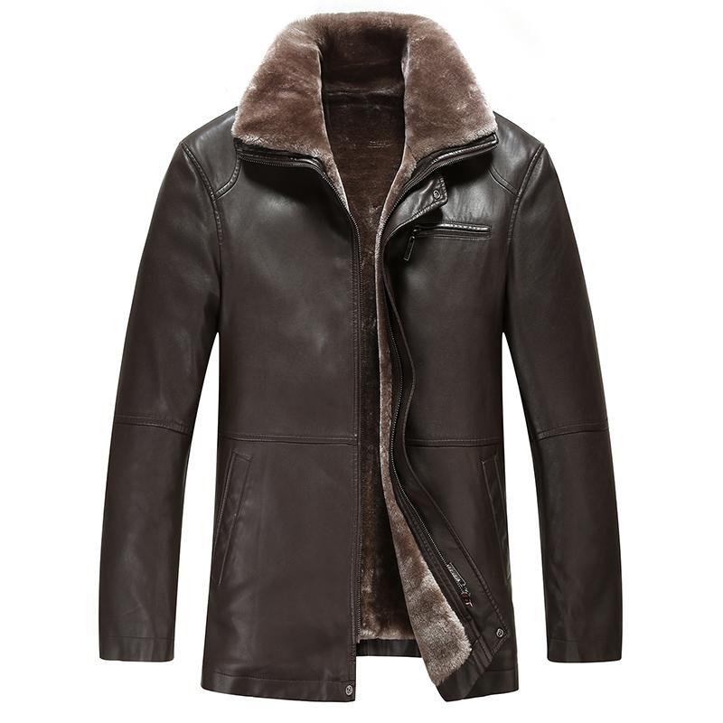 2019 2017 New Warm Lining Winter Jackets Mens Medium Long Turn Down Collar Lederjacke Herren From Bailanh, $99.07 | DHgate.Com