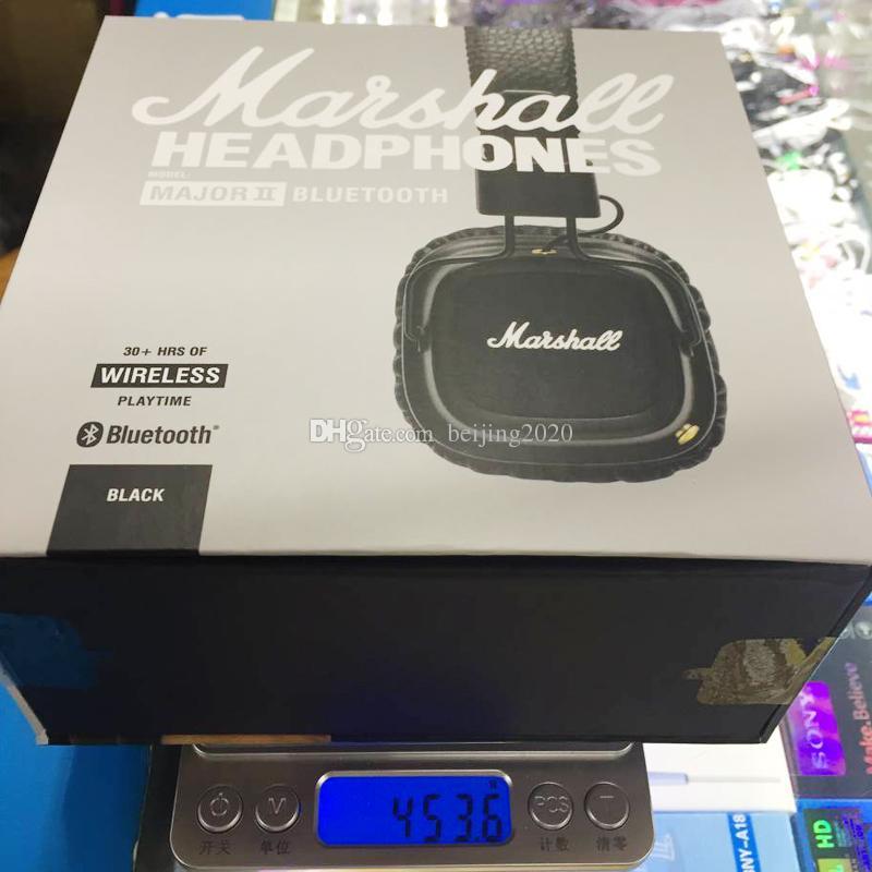 سماعات مارشال ماجور II 2.0 بلوتوث اللاسلكية التي تم تجديدها باللون الأسود للاستوديوهات الخاصة بسماعات DJ DJ