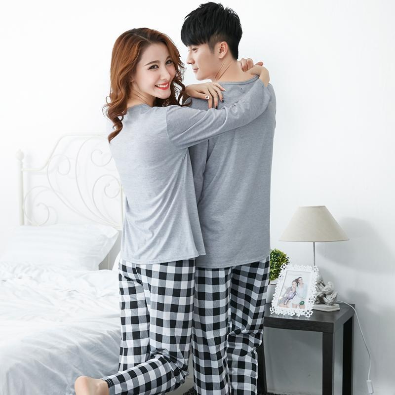 79499cc7 Compre Conjuntos De Pijama De Algodón Para Mujer 2018 Parejas De Otoño De  Manga Larga Pijama Pantalones De Cuadros Pijamas Hombres Homewear Ropa ...